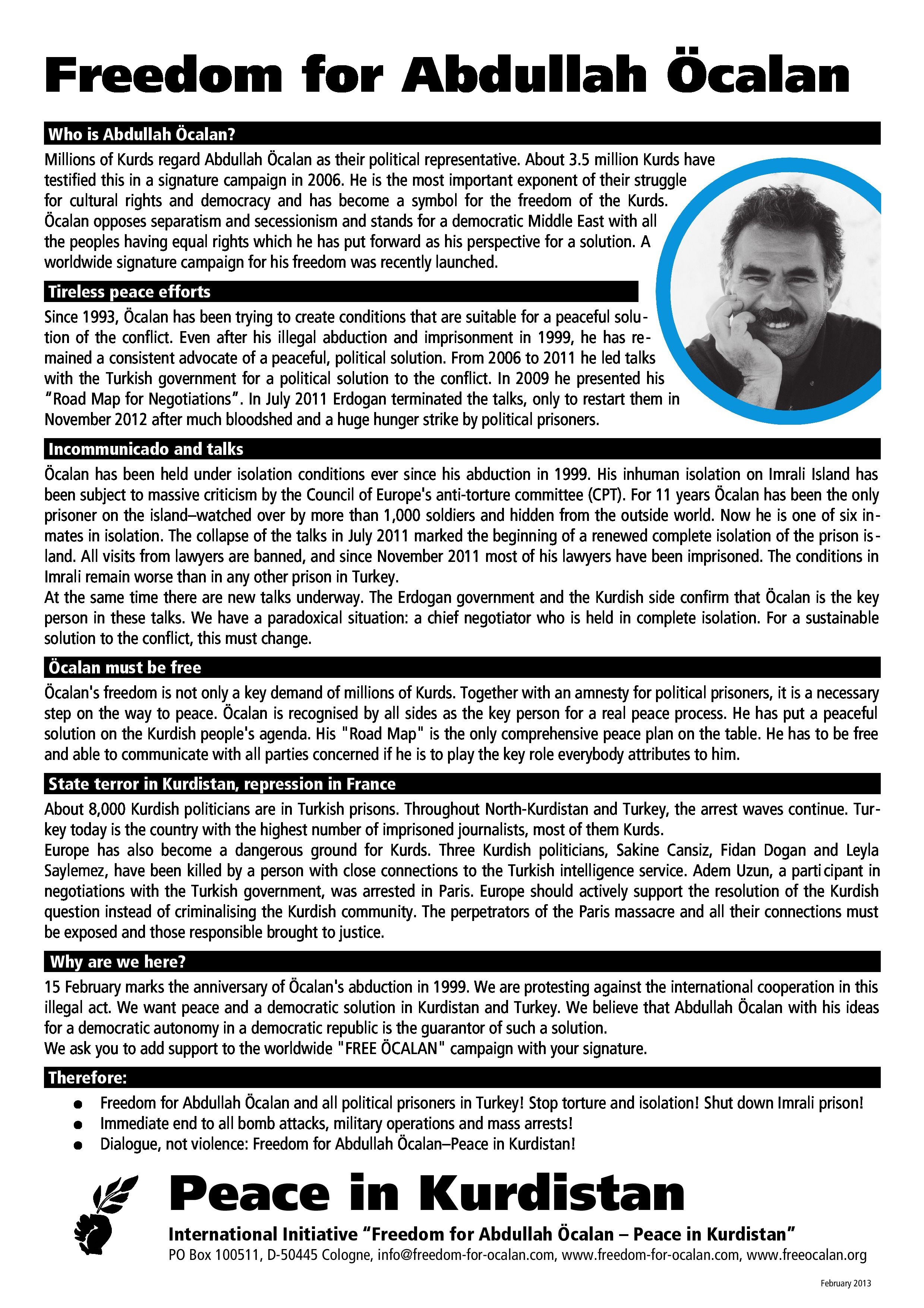 Freedom for Ocalan leaflet